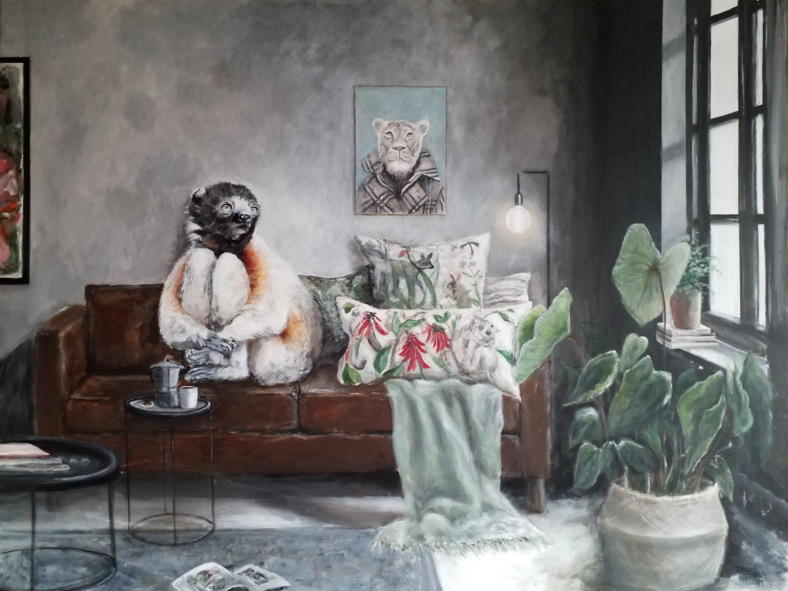 Innsikt2 120x160 cm akryl på lerret © Emmy Harnes Emmy Harnes billedkunstner billedkunst Haslum Bærum kunstner figurativ kunst antropomorfisk eventyrlig artist art anthropomorphicart