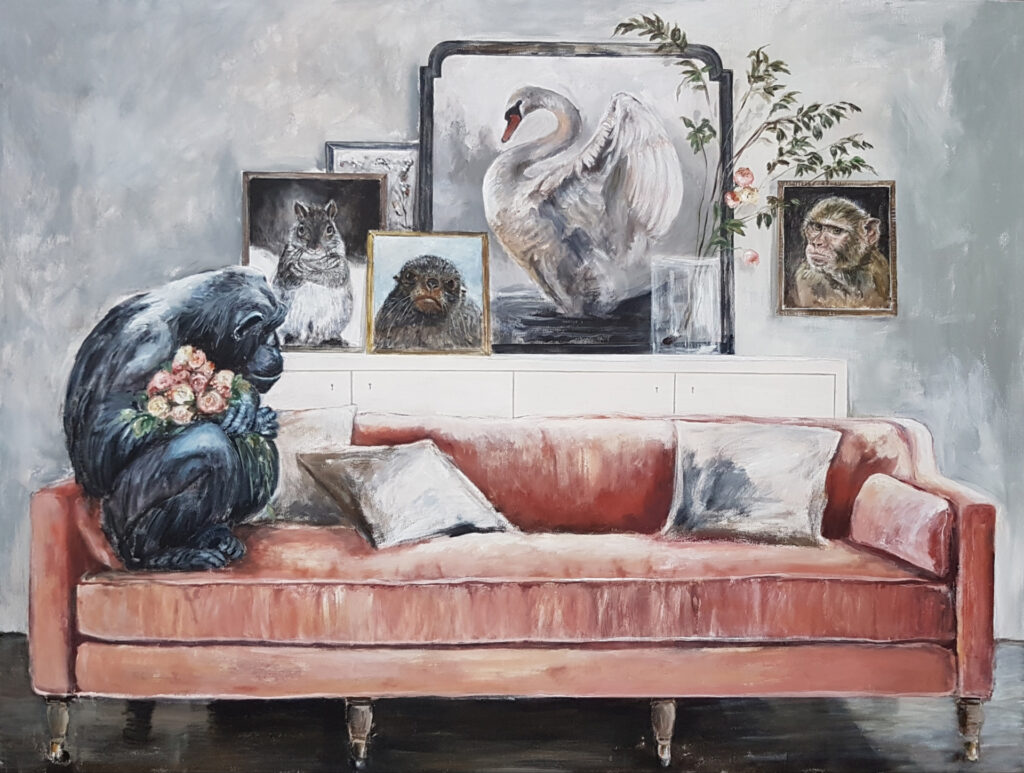 Mens jeg lever 130x170 cm akryl på lerret © EmmyHarnes 2020 Emmy Harnes billedkunstner Haslum Bærum kunstner figurativ kunst antropomorfisk eventyrlig artist art billedkunst anthropomorphicart